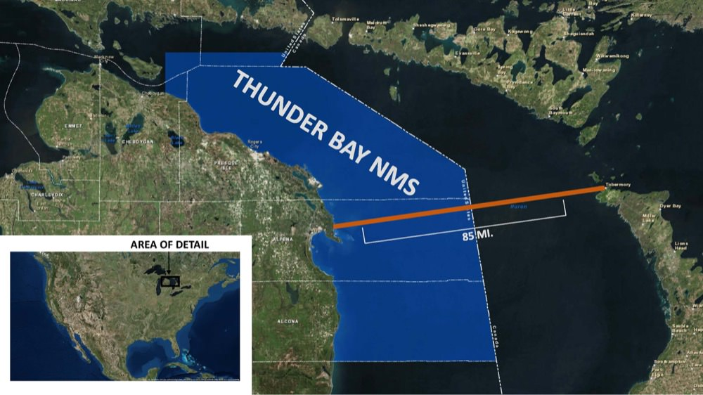 map of thunder bay national marine sanctuary and the path the paddleboarders took