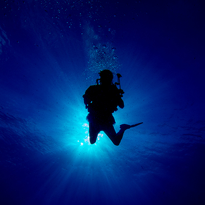 silhouetted diver