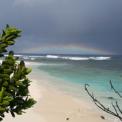 rainbow over a beach