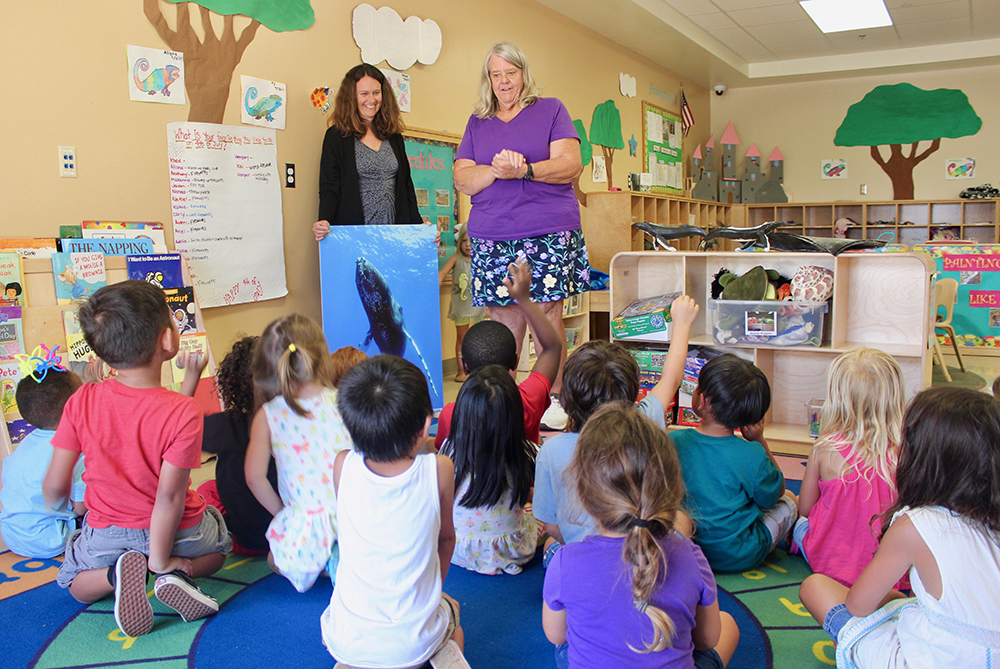 preschoolers learning about humpback whales