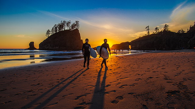 surfers on a beach at sunset