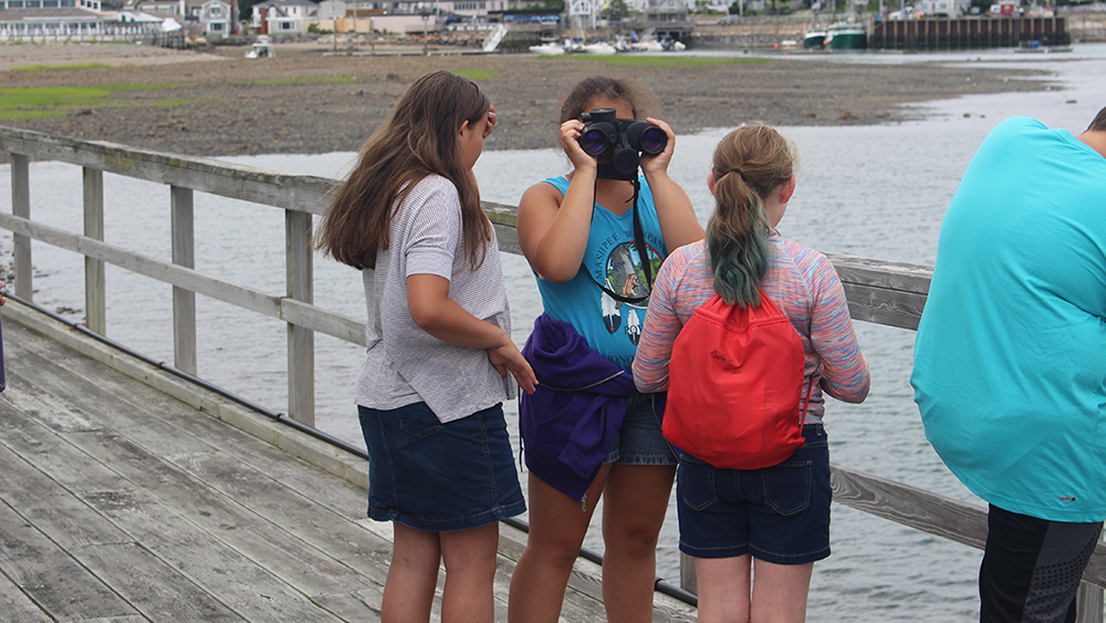 three students standing on boardwalk