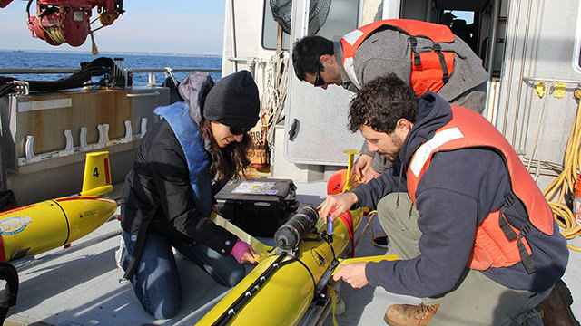 scientists deploying a glider
