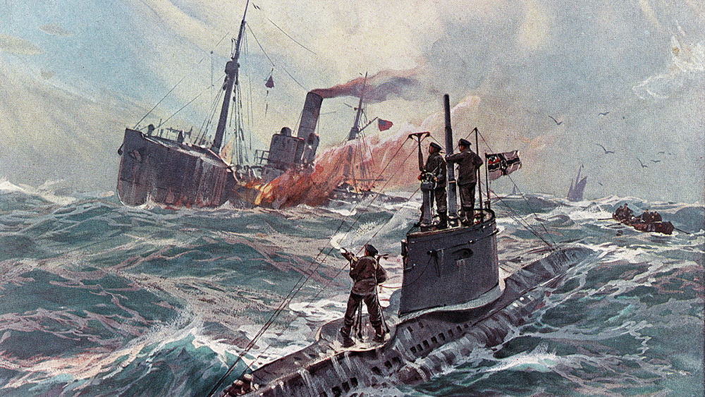 illustration showing a german submarine attacking an american merchant ship