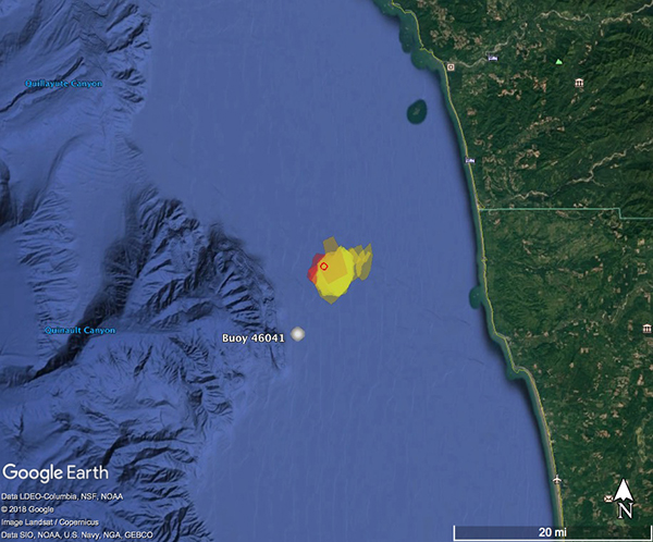 map of the march 8 2018 meteorite fall in olympic coast national marine sanctuary
