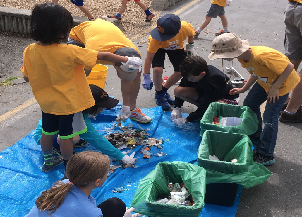 students conducting a trash audit