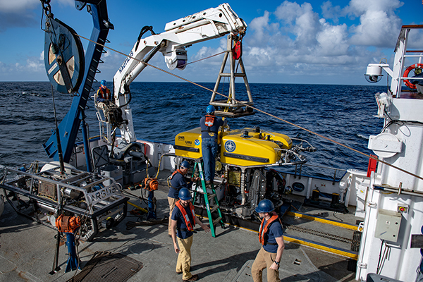 rov hercules launching off e/v nautilus