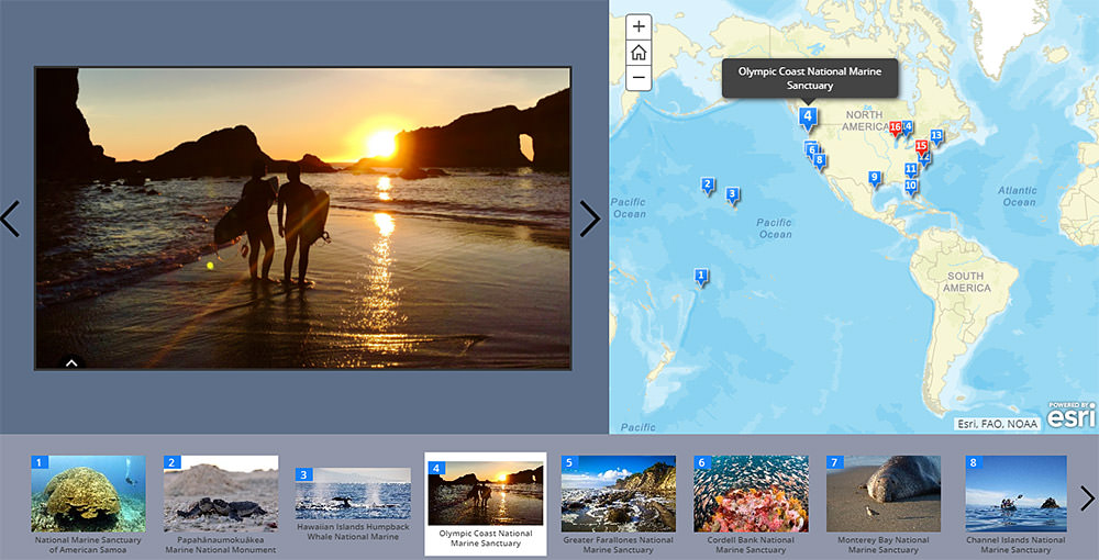 screen shot of the story map: a photo of surfers on the beach at sunset (left), a map with the locations of all the natinal marine sanctuaries (right) and a carousl of all the sanctuaries (bottom)