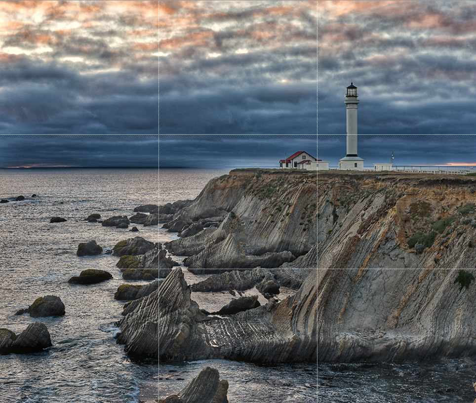 point arena lighthouse photograph with rule of thirds gridlines overlaid