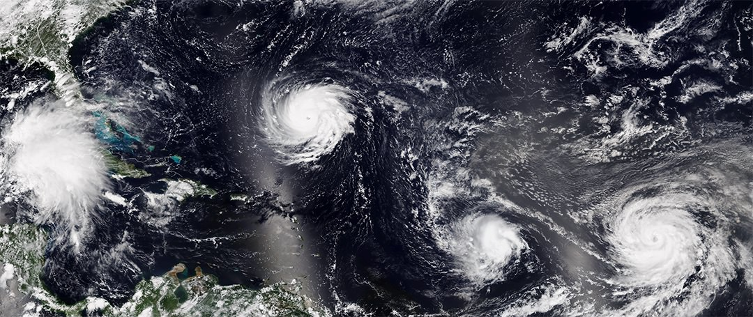 tropical storms in the atlantic ocean wide view