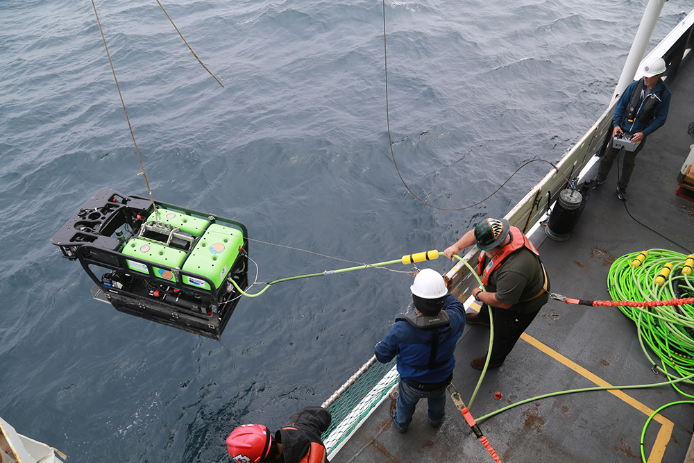 rov launching off a ship