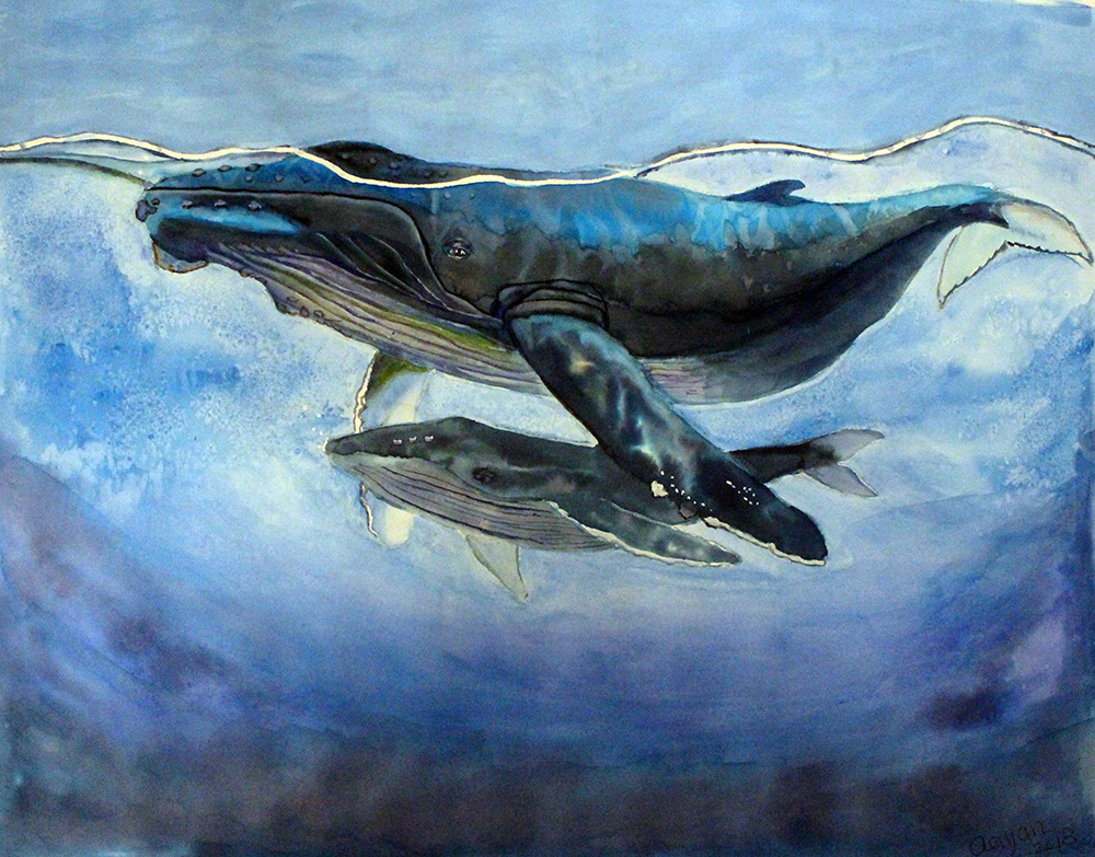 painting of humpback whale mother and calf