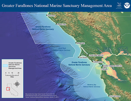 map of Management Area of Greater Farallones National Marine Sanctuary