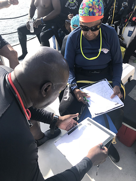 two divers discussing dive plans