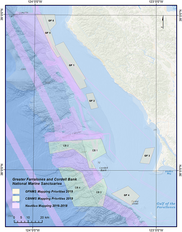 mapping priorities within greater farallones and cordell bank national marine sanctuaries