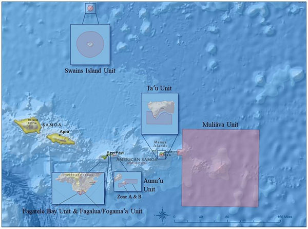 map of national marine sanctuary of american samoa