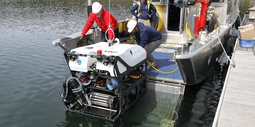 ROV Yogi is launched for testing.