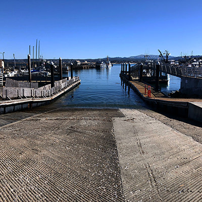 boat ramp into a harbor