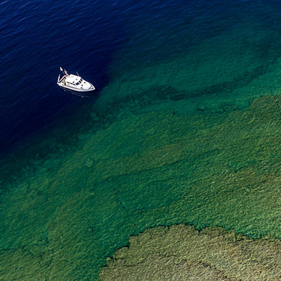 aerial view of a research vessel in lake huron