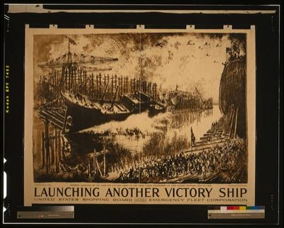 poster advertising the work of the U.S. Emergency Fleet Corps launching a ship with a crowd watching