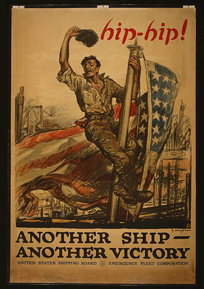 poster of a man on a flag pole with an american flag hanging on the pole