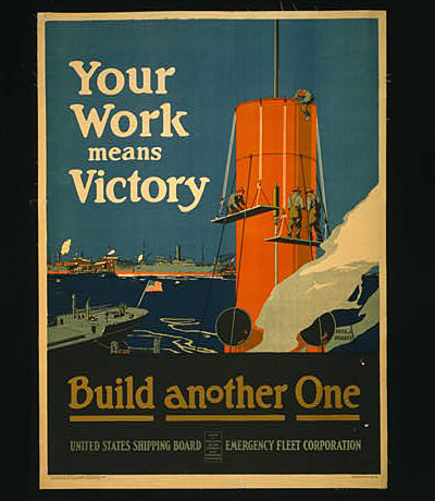 poster of thee U.S. Emergency Fleet Corps building a ship with other ships in the background