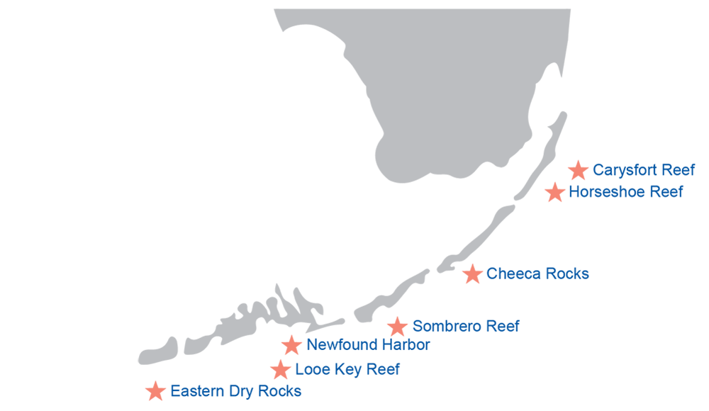 A map highlighting the seven reefs in the Florida Keys targeted by Mission: Iconic Reefs