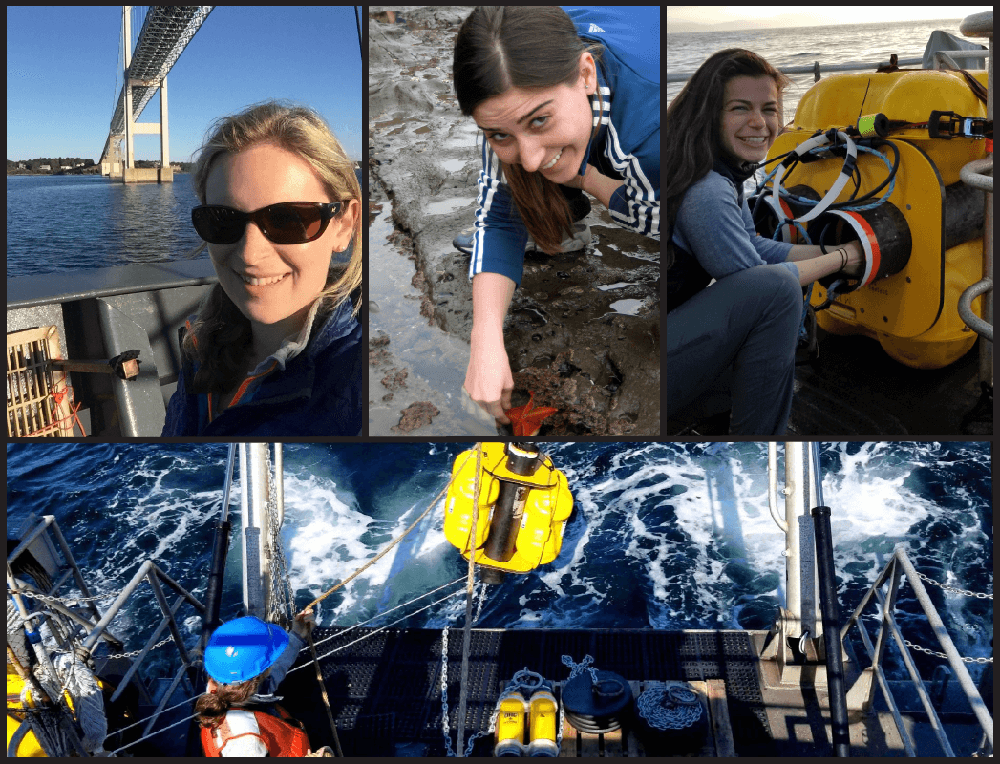 Three different women and acoustic monitoring equipment