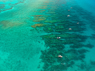 Arial view of boats in the florida keys
