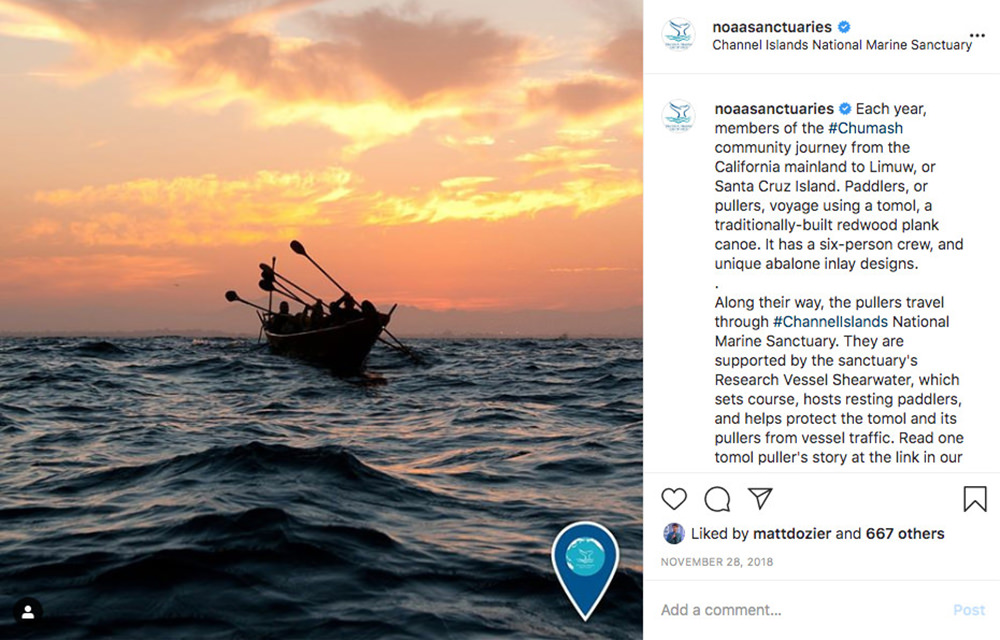 instagram post with a photo of people paddling a tomol