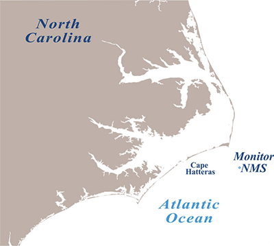 A map showing the North Carolina coast nad monitor wreck site