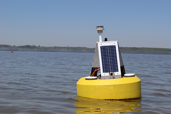 A buoy equipped with solar panels