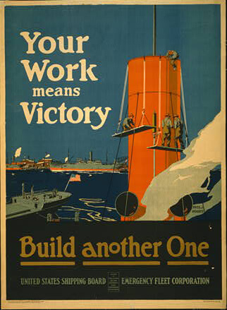 an old war-time poster encouraging ship building