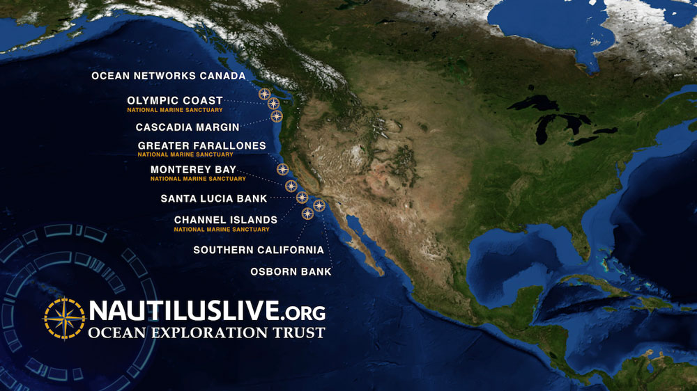 map of the west coast of the united states highlighting the nautilus expedition locations