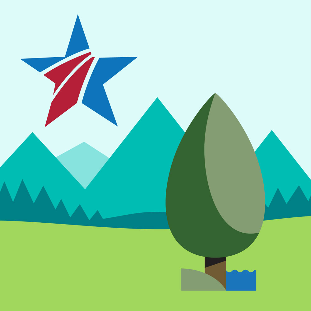 Graphic with mountains a tree and a blue star with two red stripes