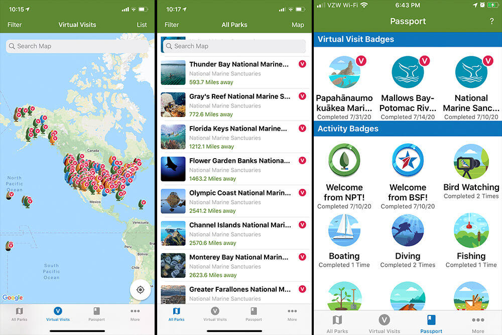 Screen shots of the park passport app; left: a map with many pins on it; middle: a list of national marine sanctuaries in the app; right: virtual badges for visiting a park;