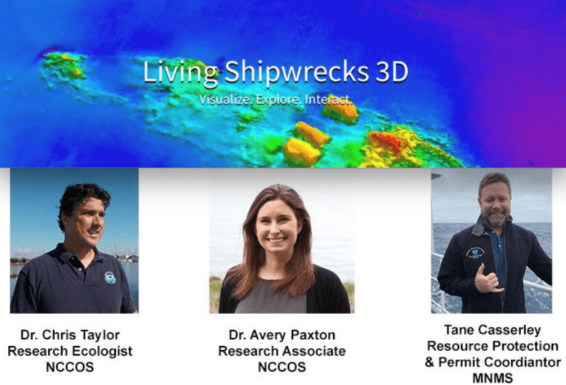 A scan of a shipwreck overlayed with headshots of Dr. Avery Paxton, Tane Casserley, and Dr. Chris Taylor