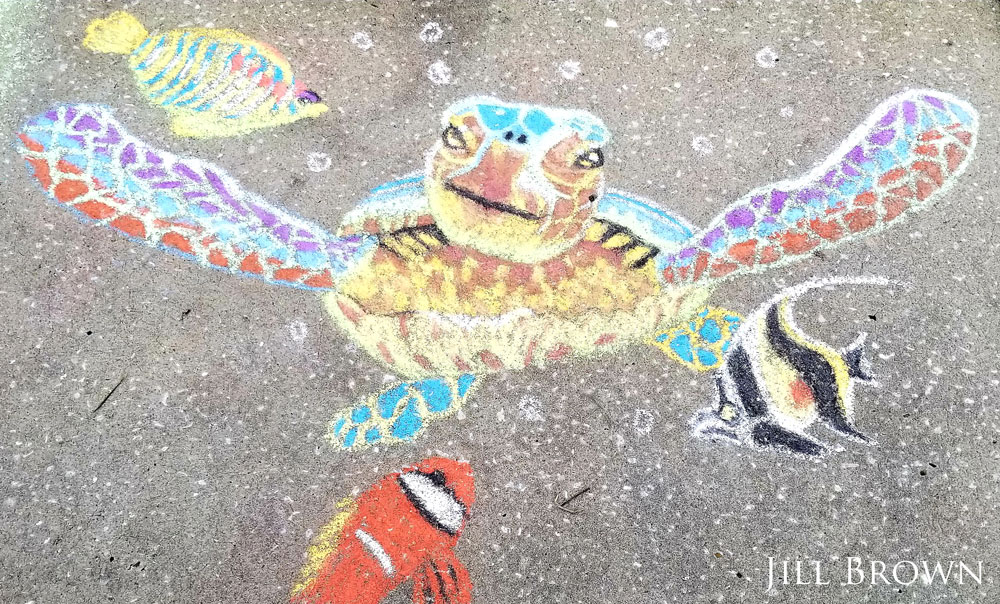 chalk art of turtle and fish