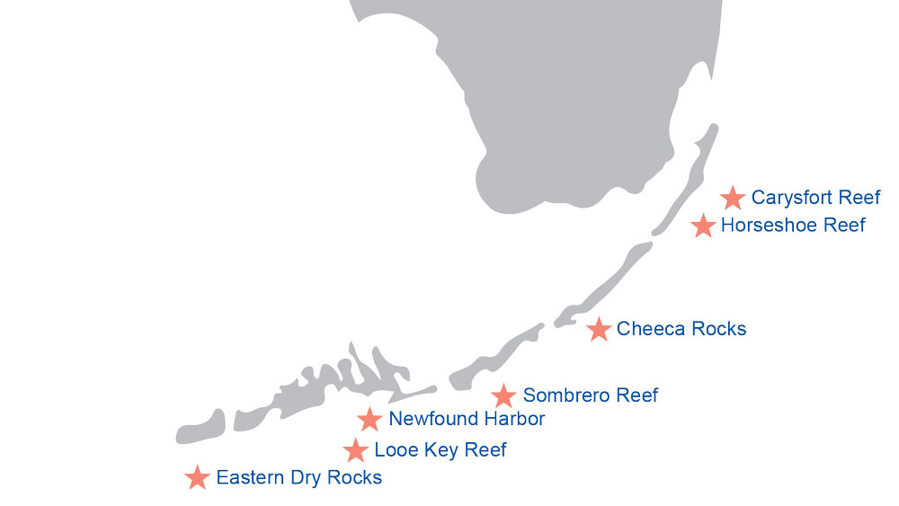 Reef locations on Florida Keys map
