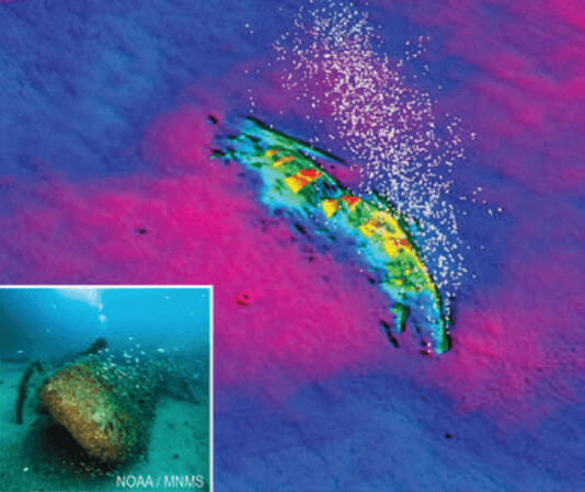 a sonart scan of a shipwreck