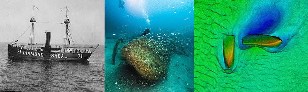 left to right: the ship diamond shoal at see, a shipwreck at the bottom of the sea, sidesonar scan of two shipwrecks