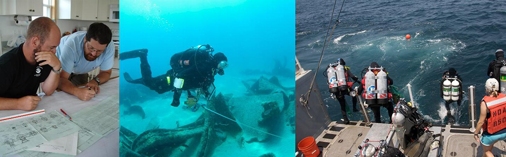 images of divers exploring shipwrecks and planning dives