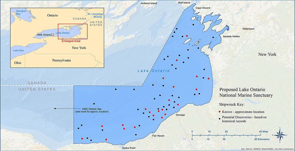 Map showing boundary and approximate location of shipwrecks in the proposed national marine sanctuary.