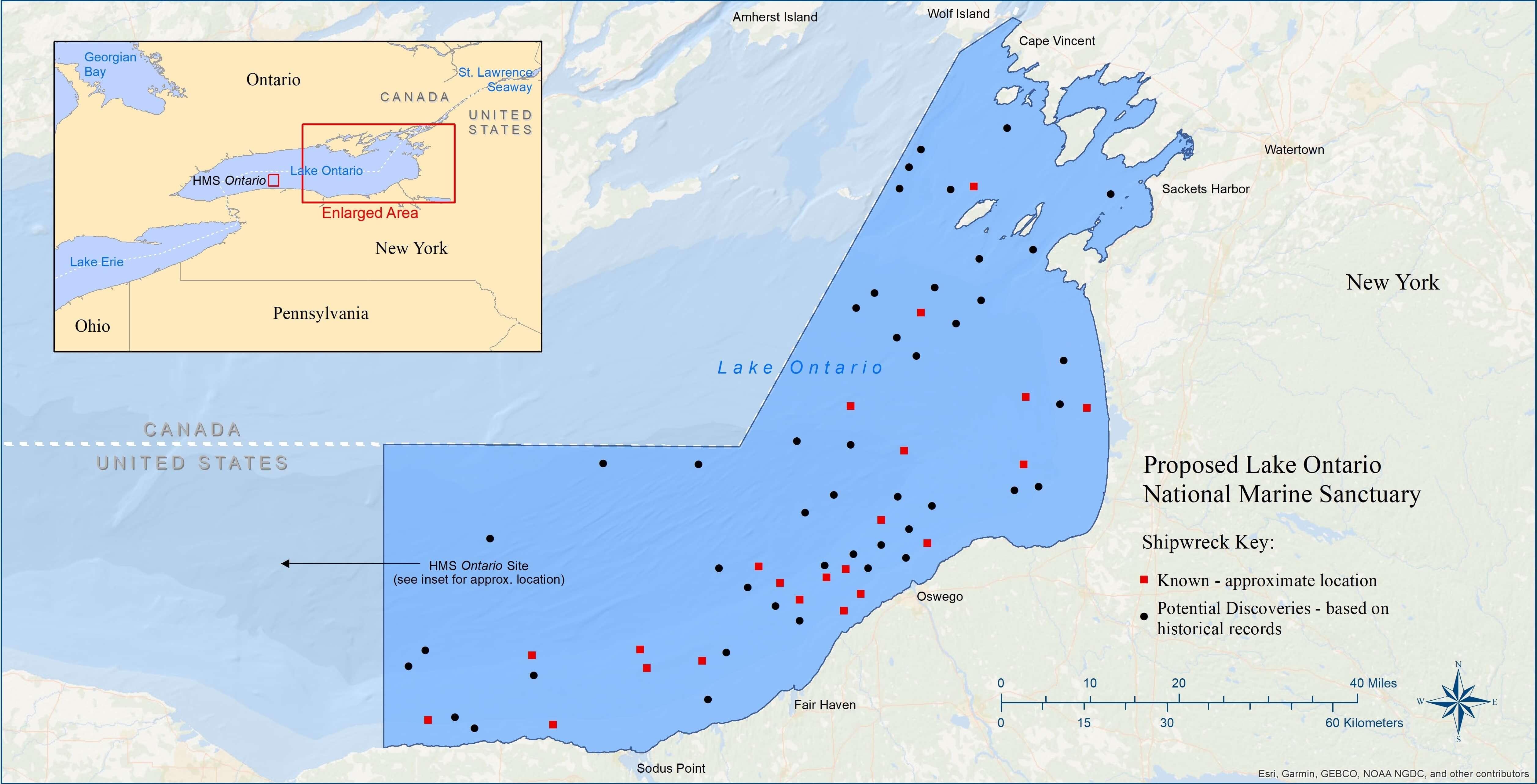 blue lake ontario map Proposed Lake Ontario National Marine Sanctuary Office Of blue lake ontario map