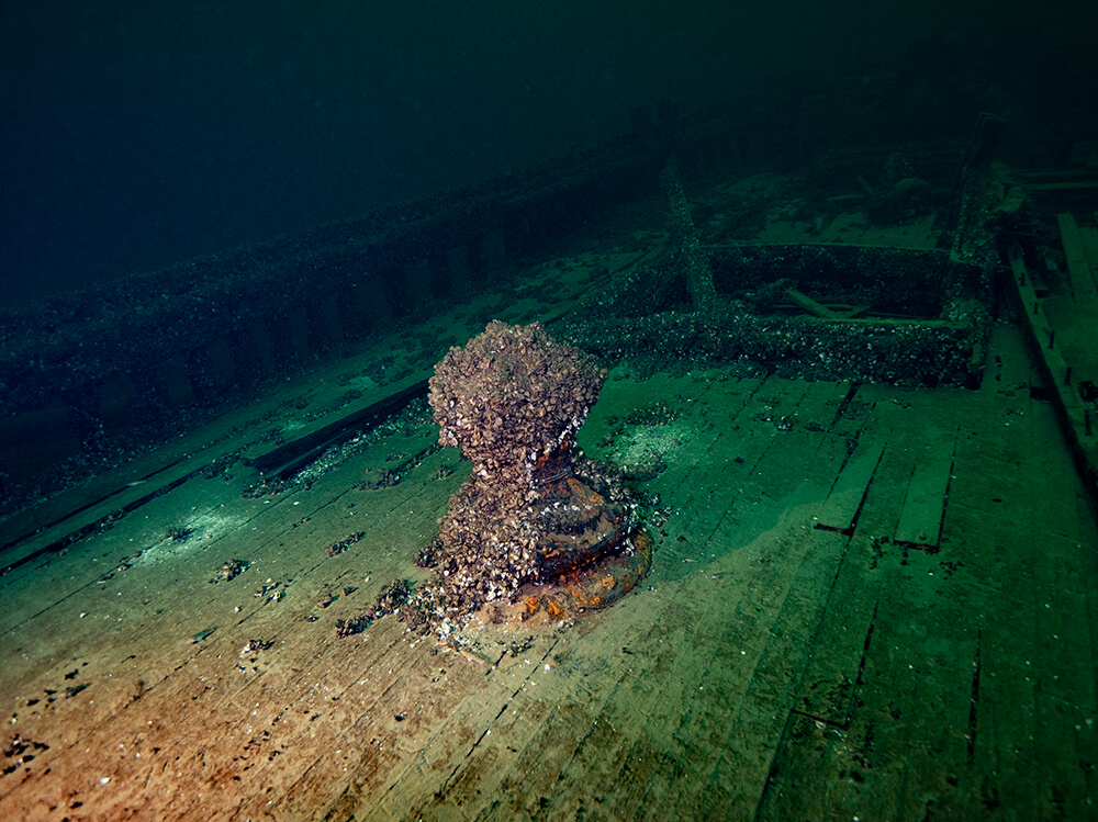 The deck of a wooden shipwreck