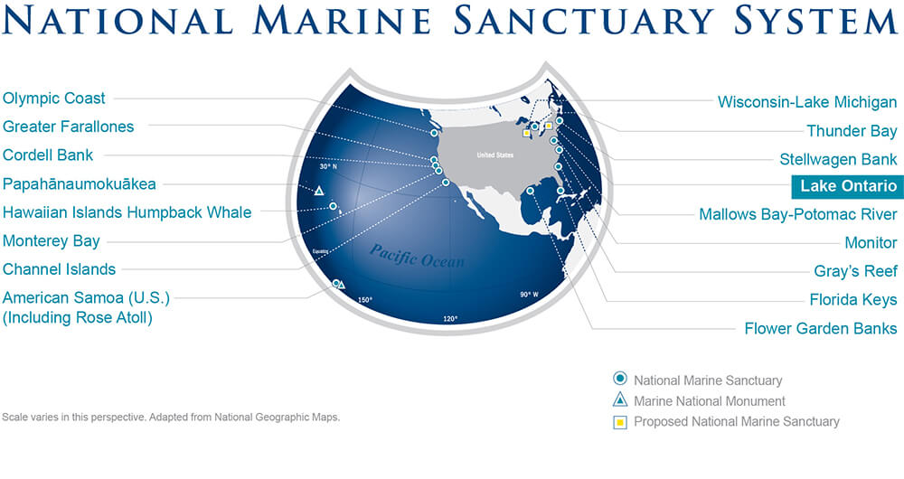 national marine sanctuary system map