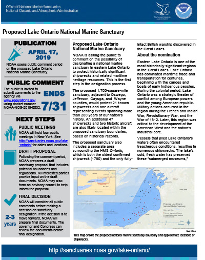 screenshot of the Proposed Lake Ontario National Marine Sanctuary Document