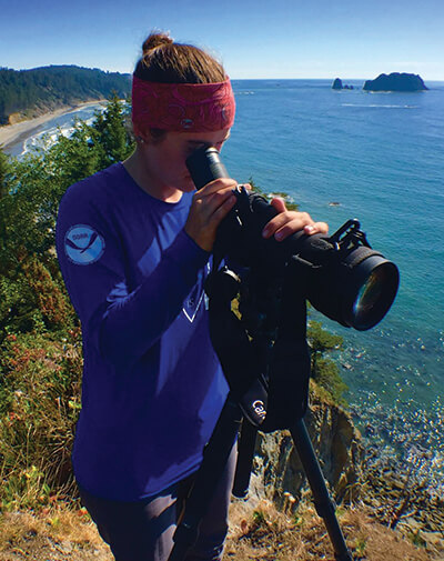 During the summer, Nancy Foster Scholar Jessica Hale spends her time observing sea otters feeding in Olympic Coast National Marine Sanctuary.