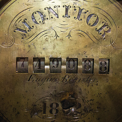 an instrument recovered from the USS Monitor displaying the ships name along with numbers