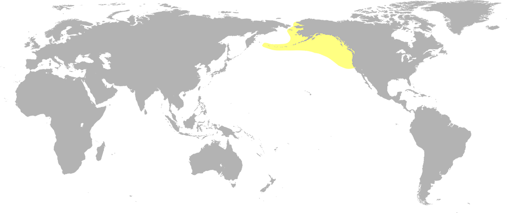 A world map highlighting the coasts of the northwestern united states, western canda and alaska